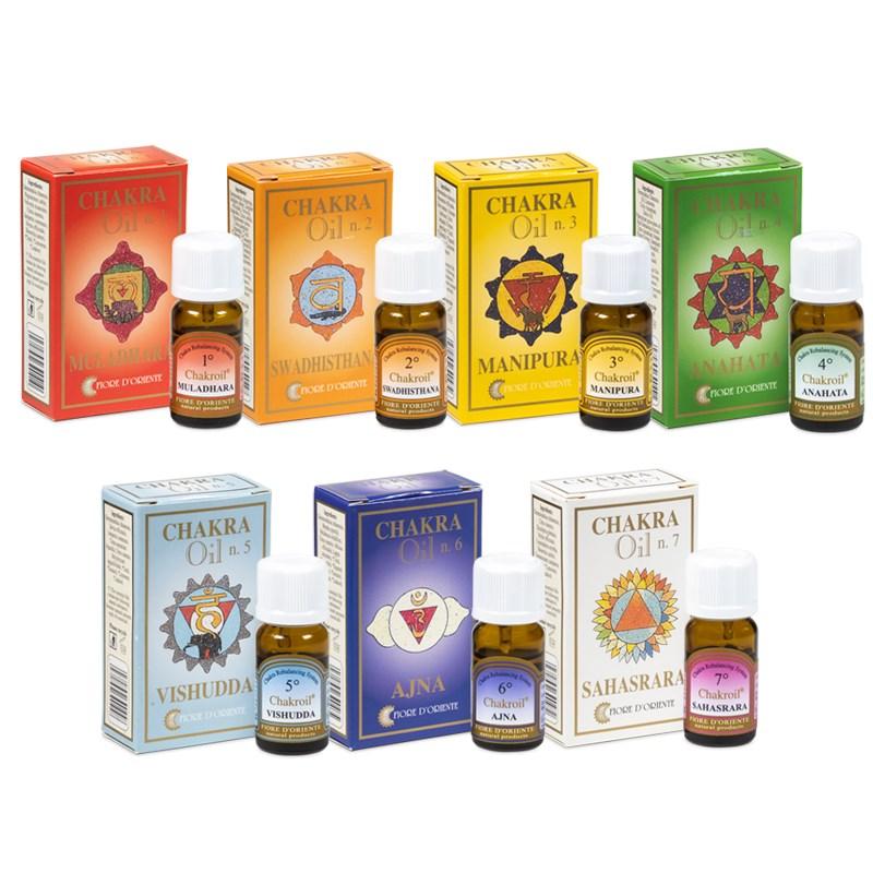 Set van 7 essentiële chakra oliën